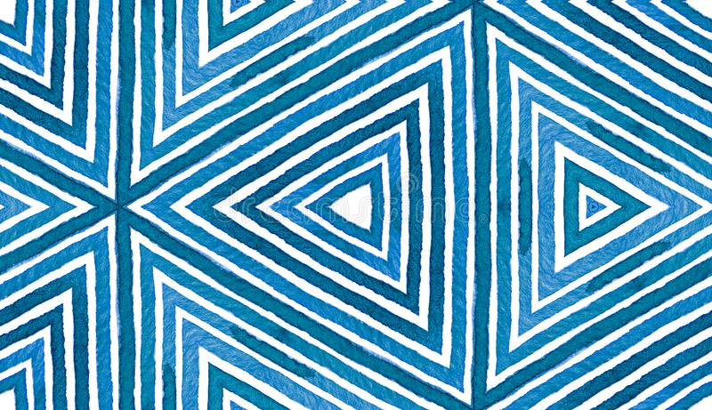 Blue Geometric Watercolor. Cute Seamless Pattern. Hand Drawn Stripes. Brush Texture. Immaculate Chev royalty free stock photos
