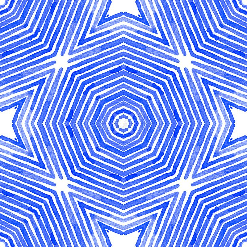 Blue Geometric Watercolor. Cute Seamless Pattern. royalty free illustration