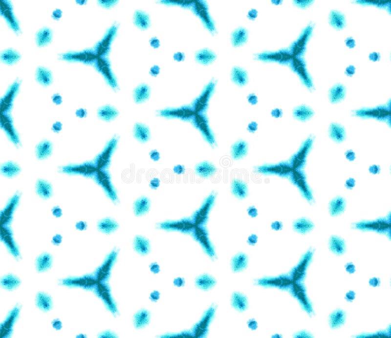 Blue Geometric Watercolor. Seamless Pattern.Surface Ornament. stock image