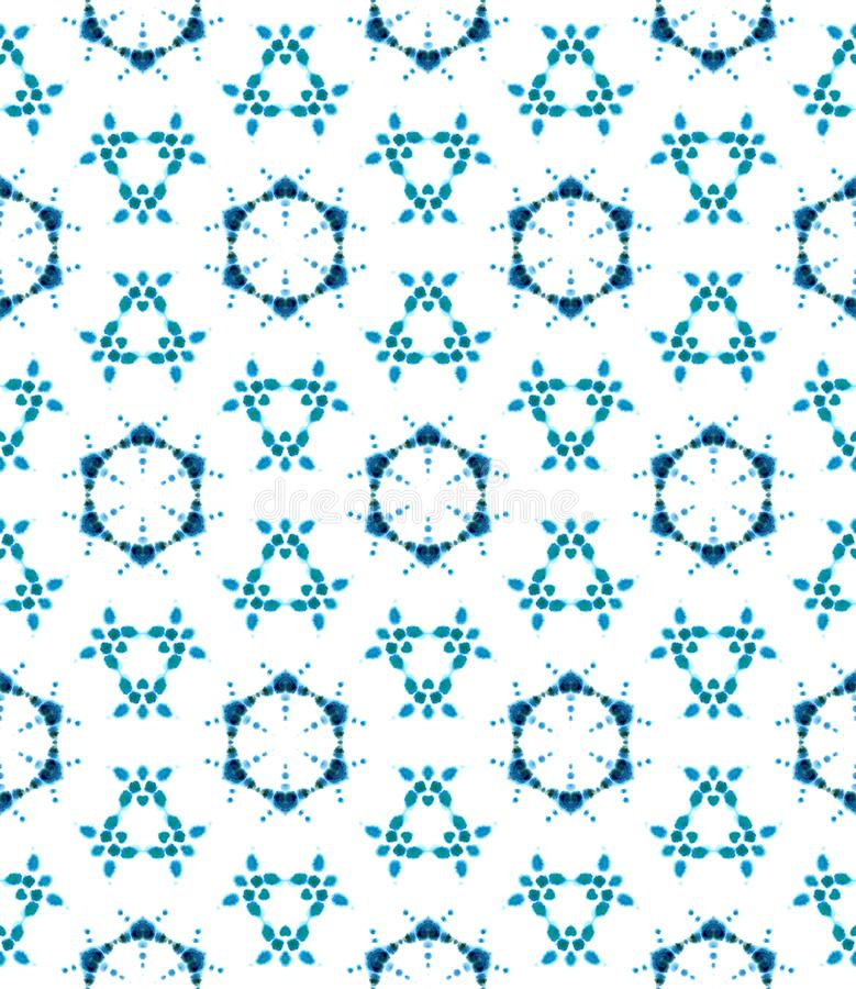 Blue Geometric Watercolor. Seamless Pattern.Surface Ornament. royalty free stock image