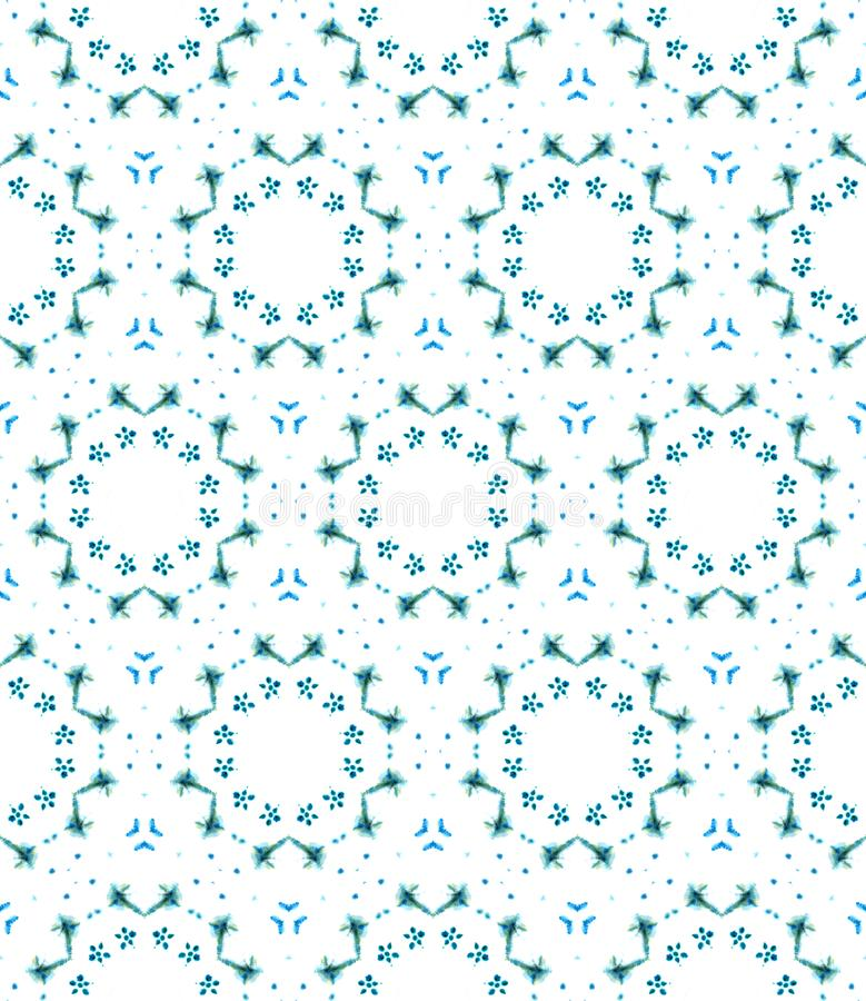 Blue Geometric Watercolor. Seamless Pattern.Surface Ornament. stock photography