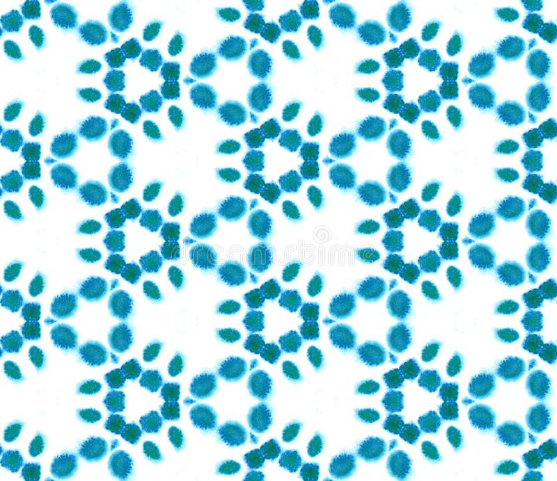 Blue Geometric Watercolor. Seamless Pattern.Surface Ornament. royalty free illustration