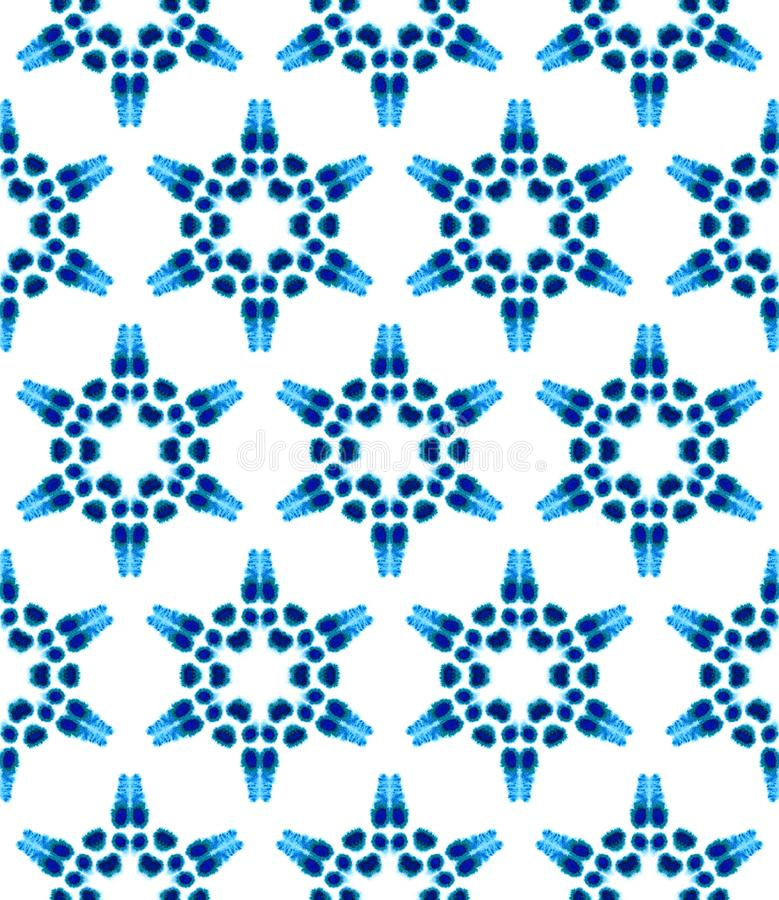 Blue Geometric Watercolor. Seamless Pattern.Surface Ornament. vector illustration