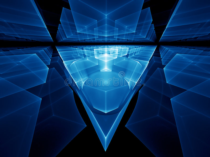 Blue geometrical perspective royalty free illustration