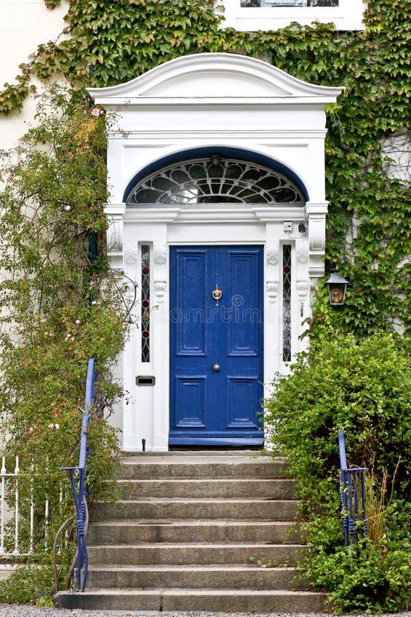 Blue Georgian door, Dublin, Ireland stock images