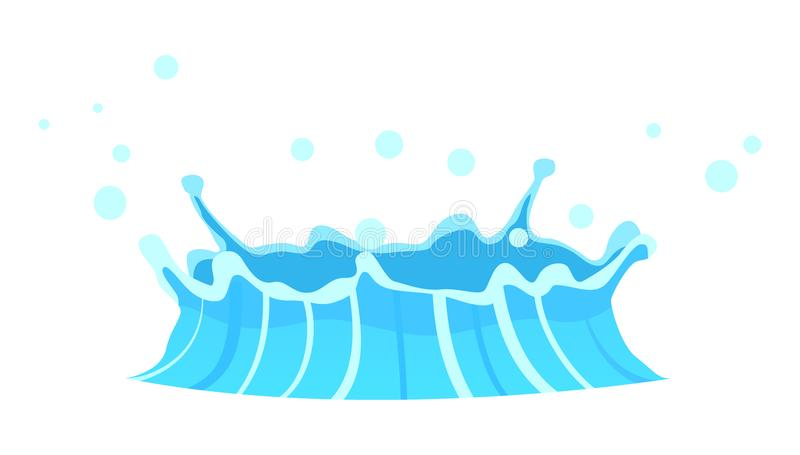 Blue Geyser Flow of Water from under Earth Drawing. Blue geyser flow of water from under earth hand drawing on white background. Aqueous stream with splashes of stock illustration