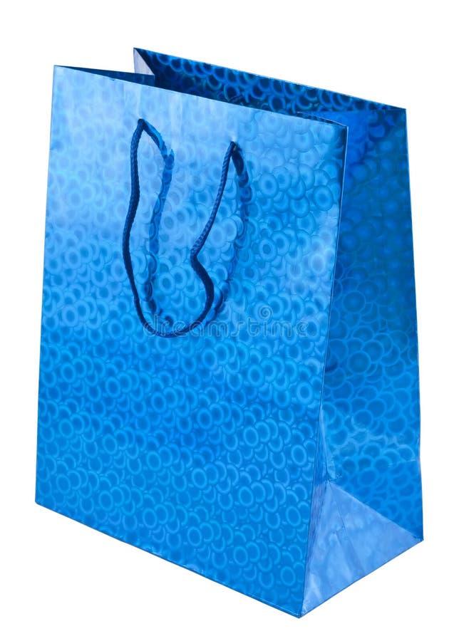 Blue gift bag royalty free stock photo