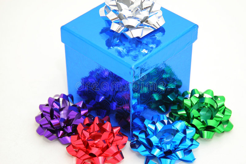 Download Blue gift and bows stock image. Image of occasion, silver - 1688889