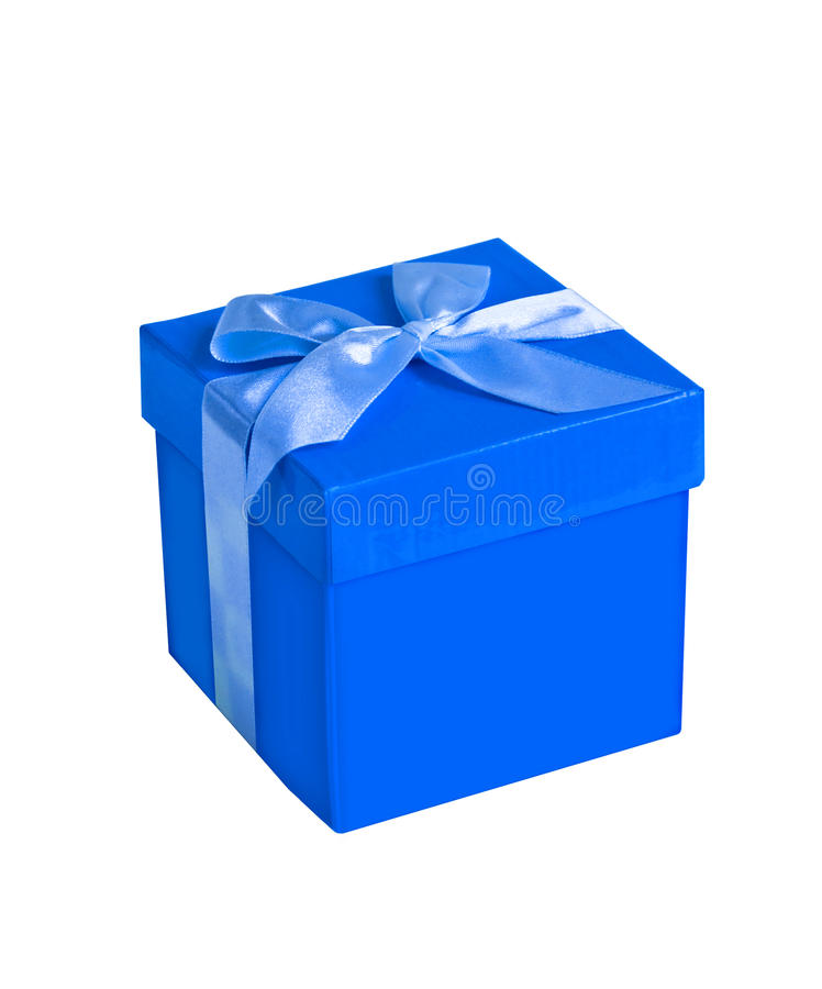 Blue Lightning Favor Boxes : Blue gift box stock image of anniversary wrapping