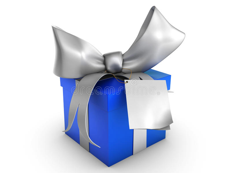 Blue gift box with blank tag vector illustration
