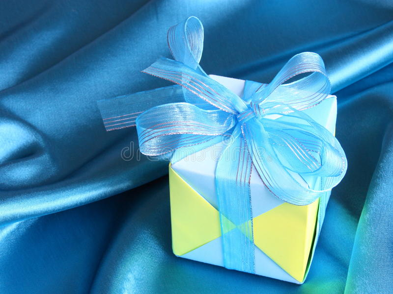 Blue Gift Box - Fathers Day card - Stock photos. Blue Gift Box - Fathers Day card or Valentines Day background stock photo