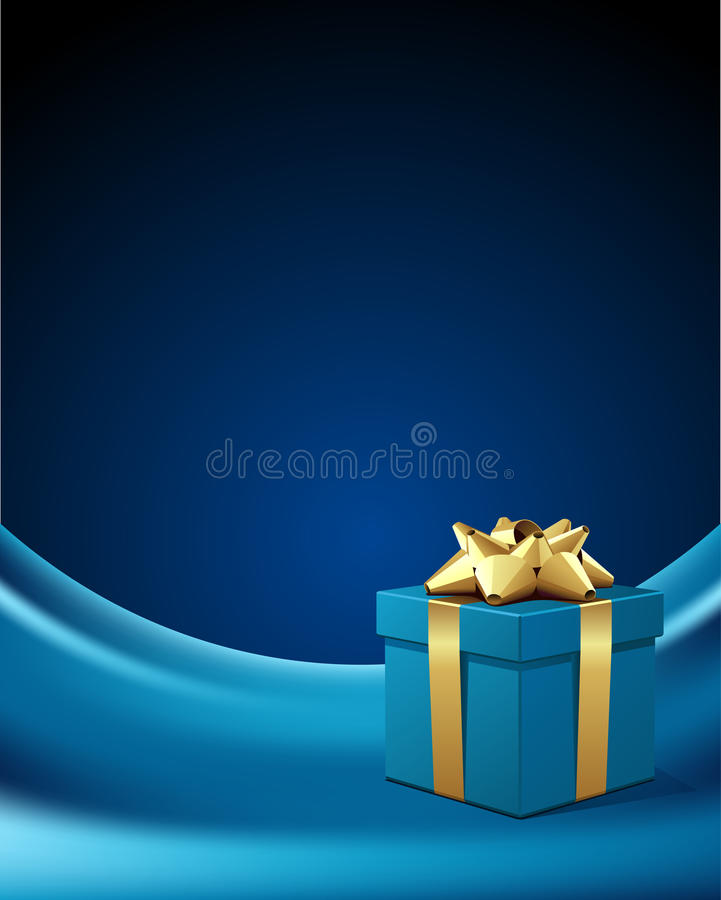 Blue gift box with gold bow royalty free illustration