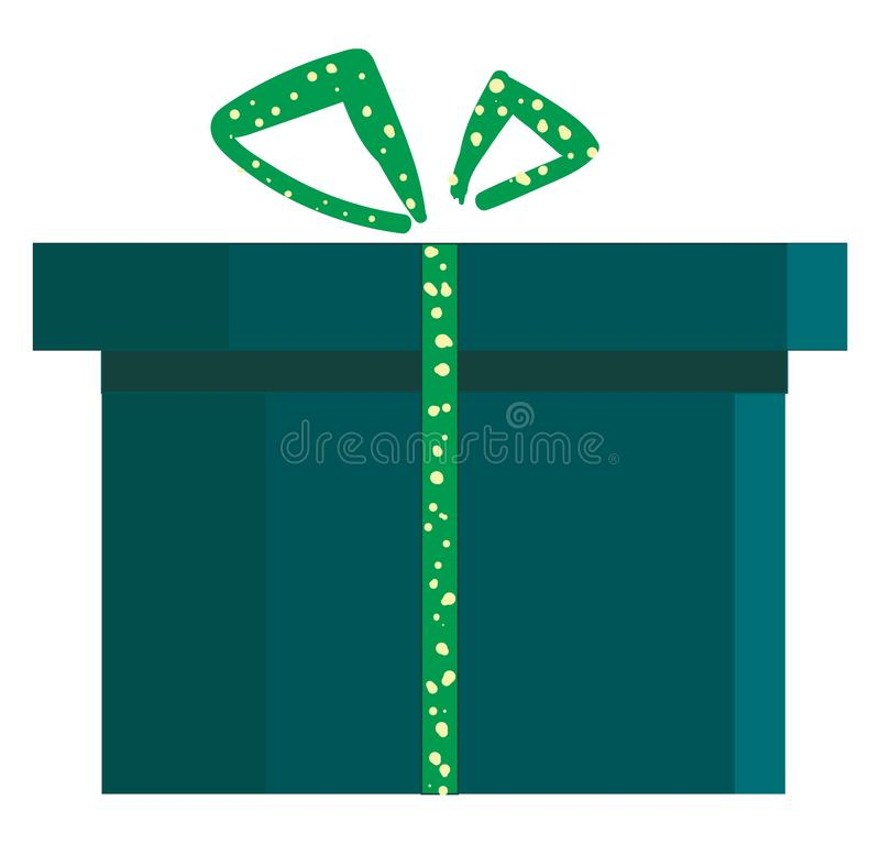 A blue present box with green polka dot designed ribbon tied with ribbons and topped with decorative bow works especially well for. Blue gift box with green vector illustration
