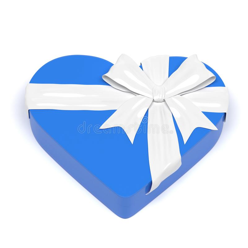 Blue gift box in heart shape. Closed container decorated with white ribbon bow. 3d rendering illustration. Blue gift box in heart shape. Closed container royalty free stock image