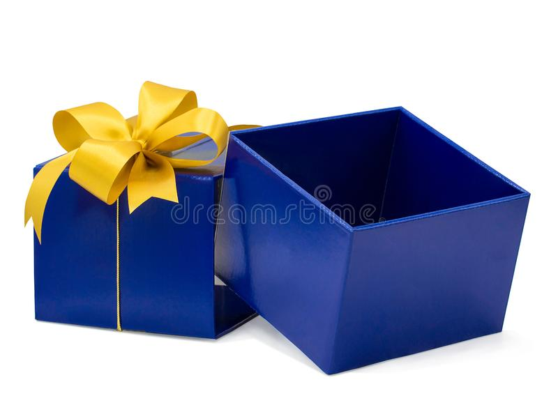 Blue gift box isolated on white background with clipping path,Christmas day,New Year day,Giving tuesday royalty free stock images