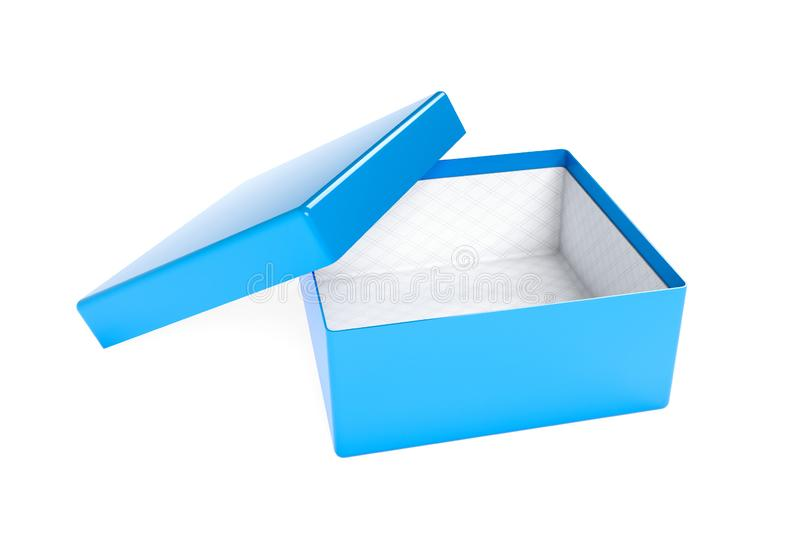 Blue gift box. Open emty box mock up. 3d rendering illustration isolated stock illustration