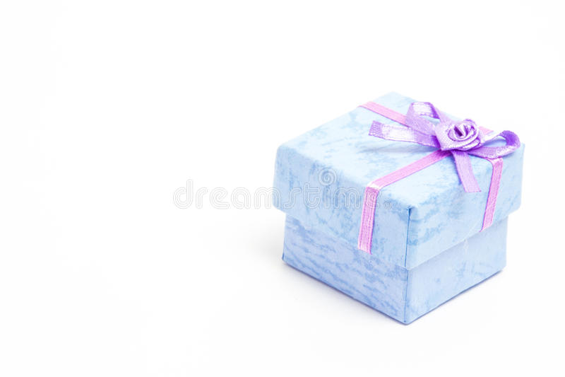 Download Blue Gift Box With Purple Ribbon Stock Image - Image: 29770535
