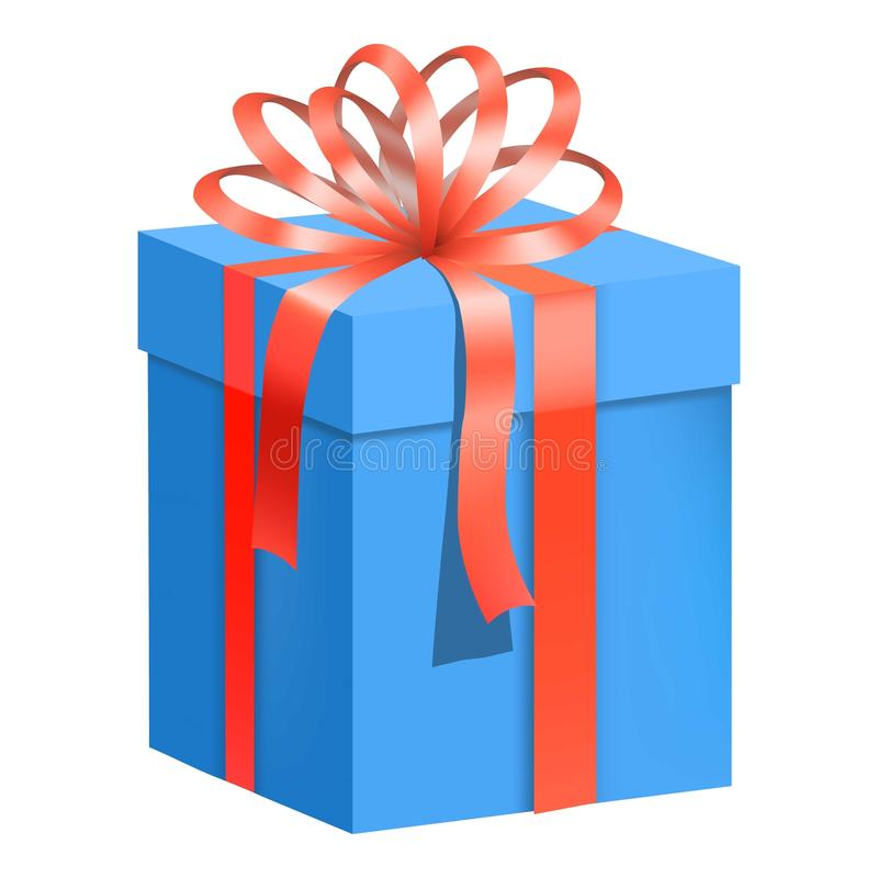 Blue Gift Box With Red Ribbon Icon, Flat Style Stock ...