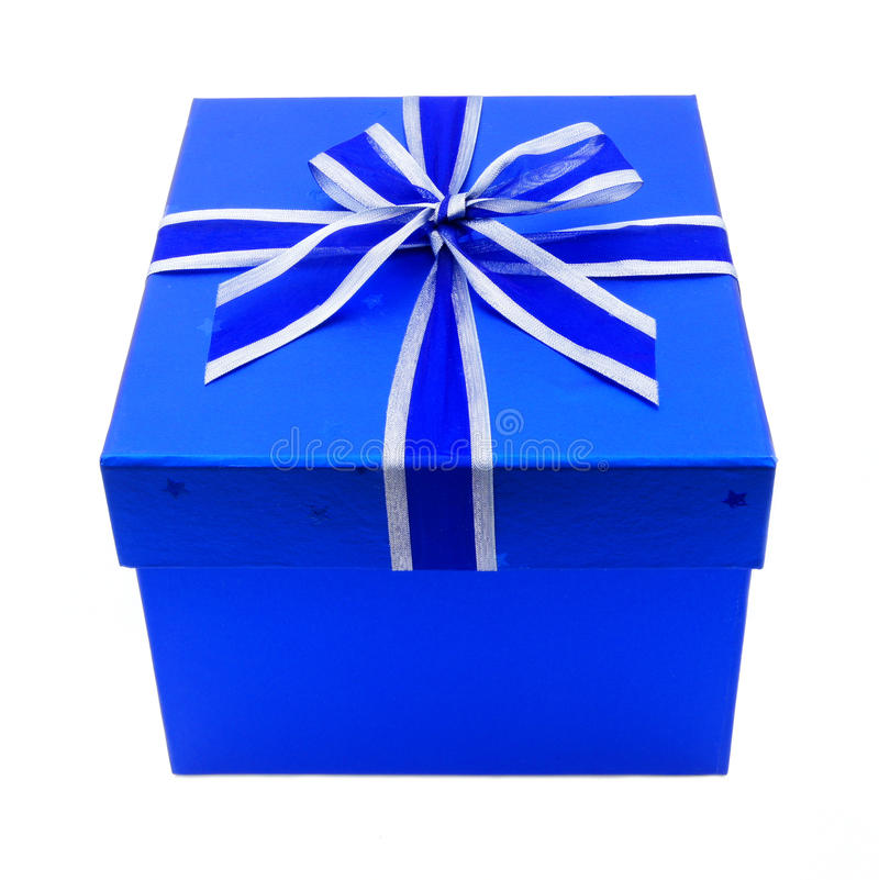 Download Blue Gift Box with Ribbon stock image. Image of close - 21997631