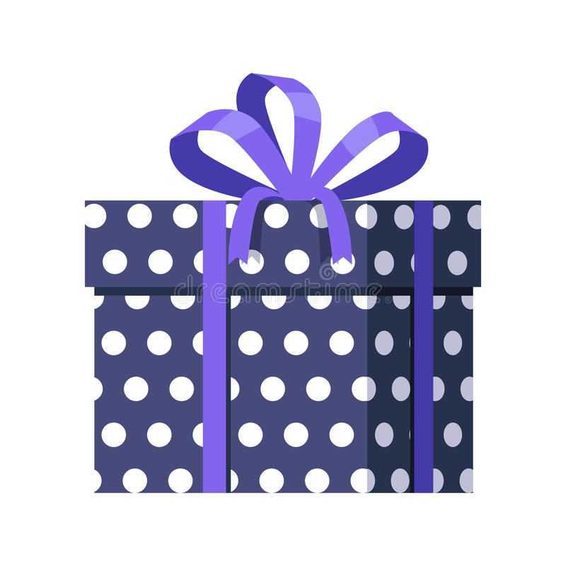 Blue Gift Box with White Dots. Ribbon and Bow royalty free illustration
