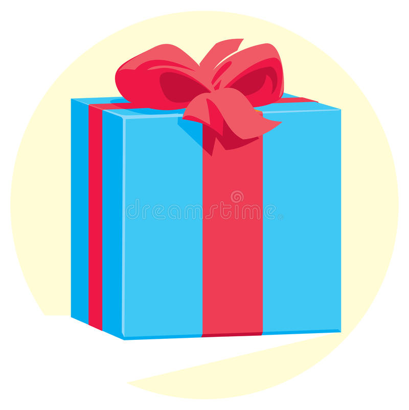 Free Blue Gift Box With A Red Ribbon And Bow Royalty Free Stock Image - 71622936