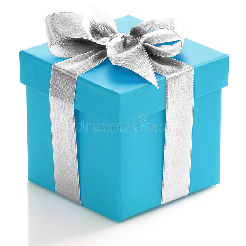 Free Blue Gift Box With Silver Ribbon Stock Photo - 39389090
