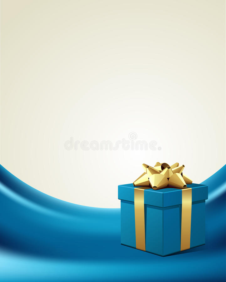 Blue gift with gold bow on silk royalty free illustration