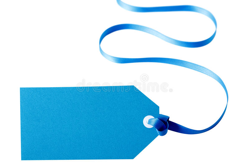 Blue gift tag or label with long curly ribbon isolated on white backg. Blue gift tag or label with curly ribbon isolated on white background stock images
