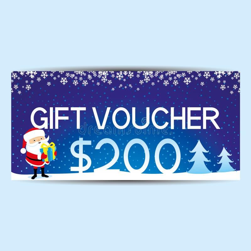 Blue gift voucher. vector illustration