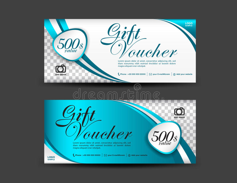 Blue Gift Voucher Template Coupon Design Gift Certificate Stock