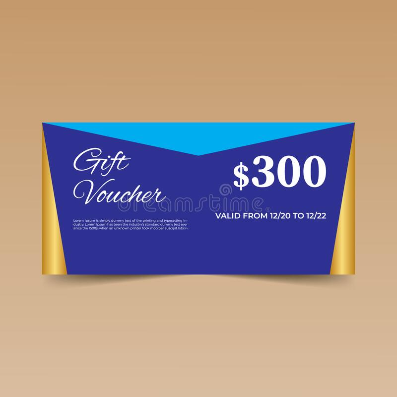 Free Blue Gift Voucher Template Design Royalty Free Stock Image - 214467846