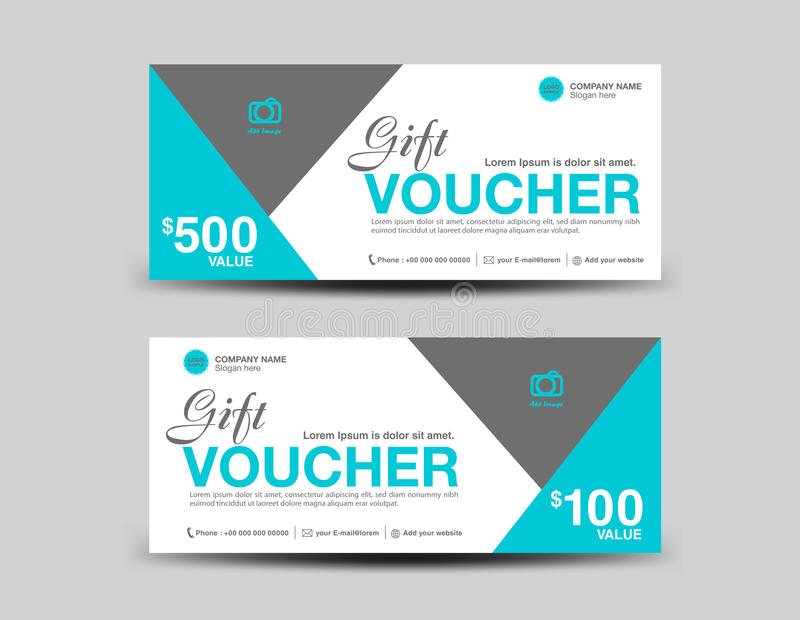 Blue Gift Voucher template flyer design polygon background royalty free illustration