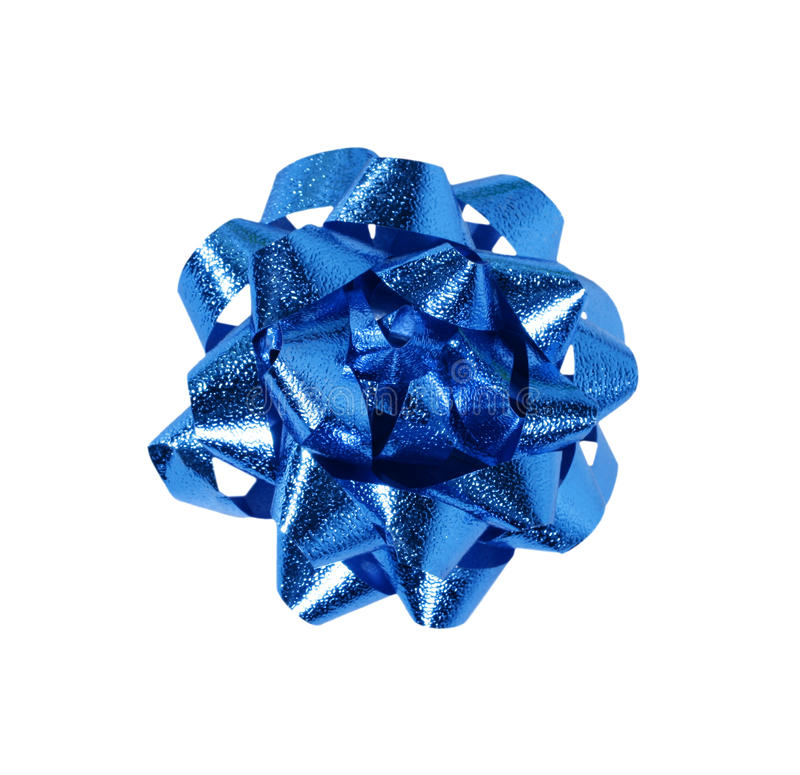 Blue gift wrap bow. Isolated over a white background stock images