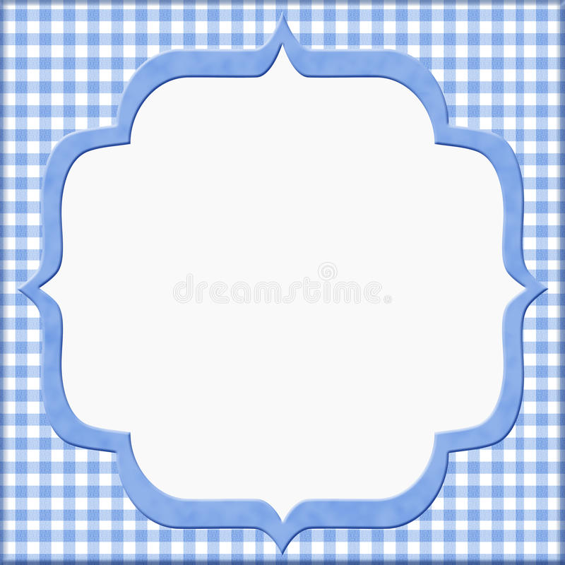 Blue Gingham Baby Frame for your message or invitation stock illustration