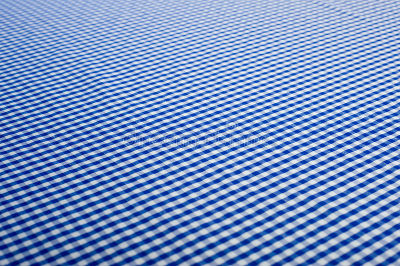 Blue Gingham Background. Blue Gingham or checked tablecloth background stock photos