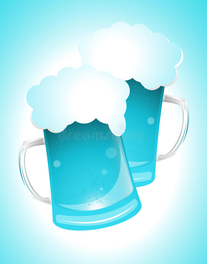 Blue Glass of Beer. Creative Conceptual Design of Blue Glass of Beer vector illustration