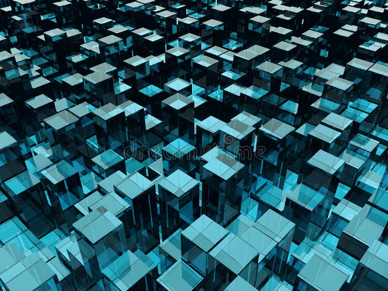 Blue Glass Blocks of Random Height Background. Abstract Technology Backdrop. 3D Illustration vector illustration