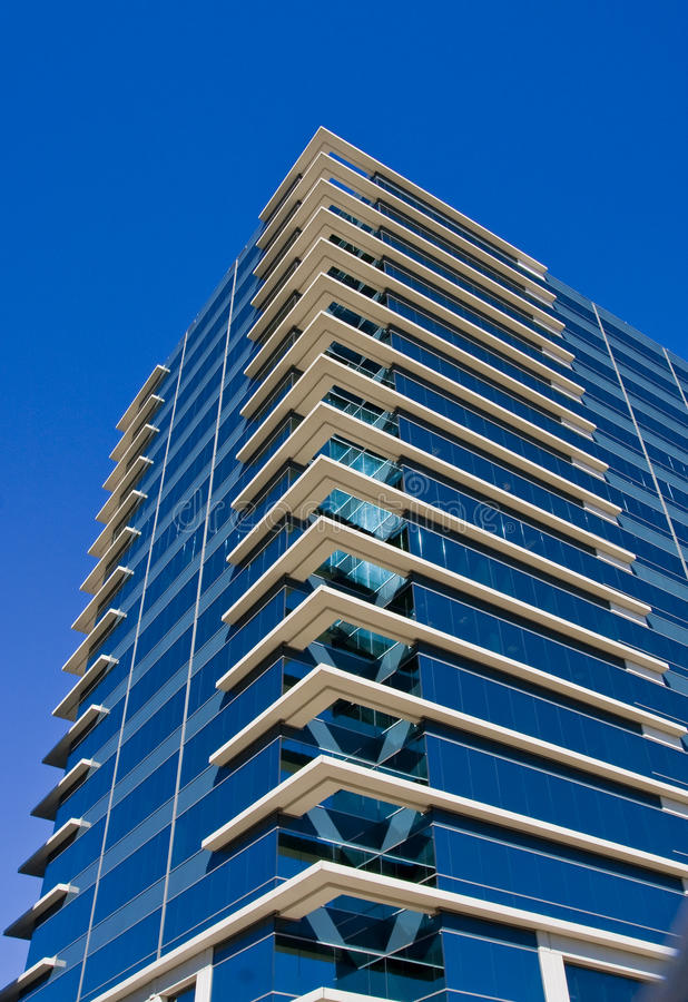 Blue Glass Building With White Corners Stock Images