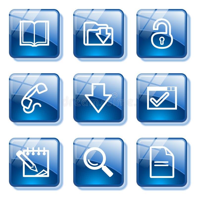 Blue glass button 6 stock illustration