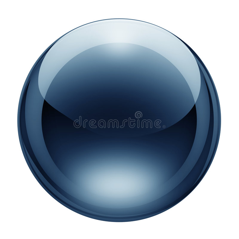 Blue glass button royalty free stock photos