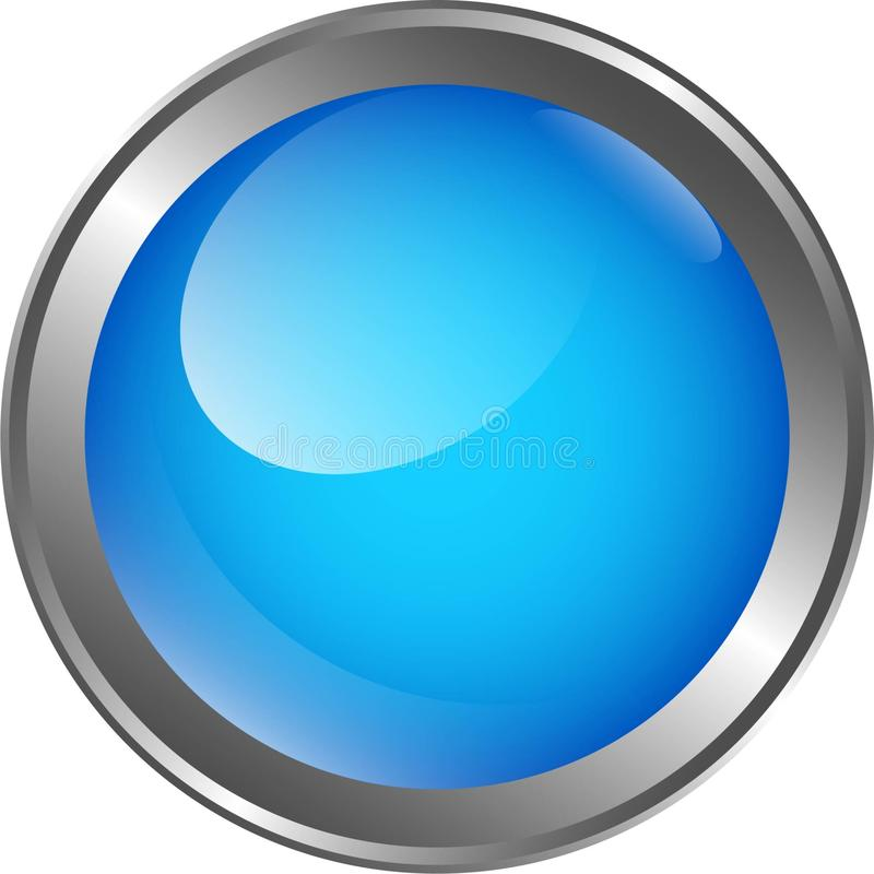 Blue glass button led with metal silver ring vector illustration