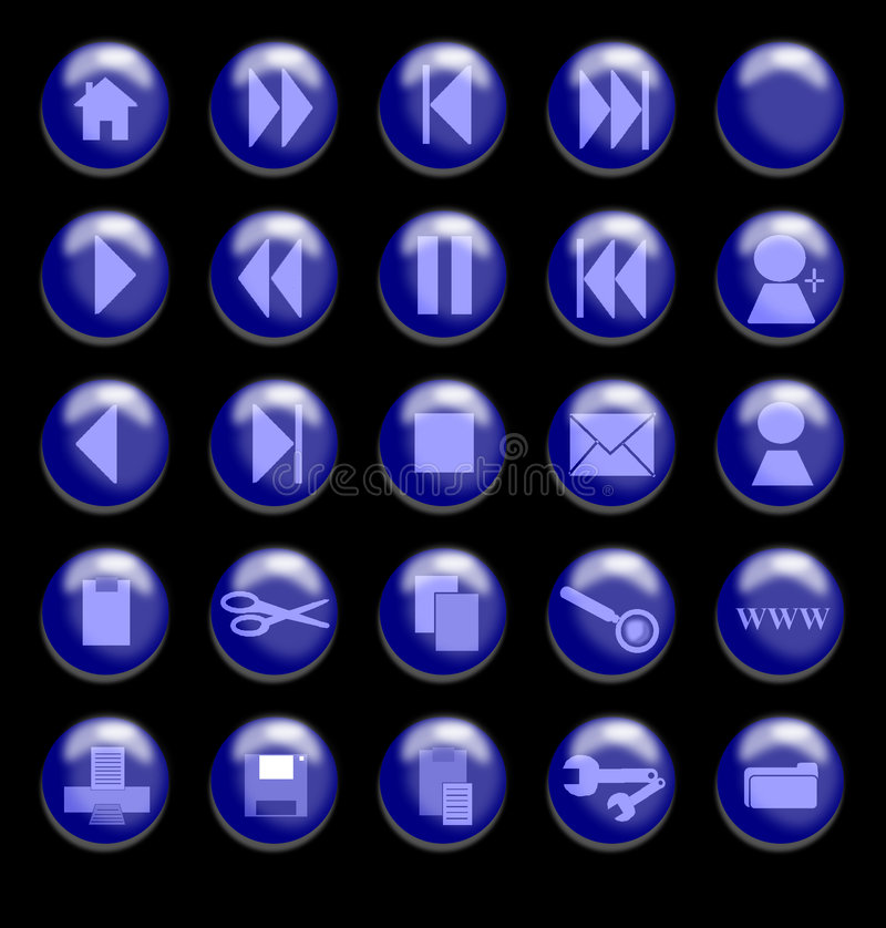 Blue Glass Buttons on a Black Background vector illustration