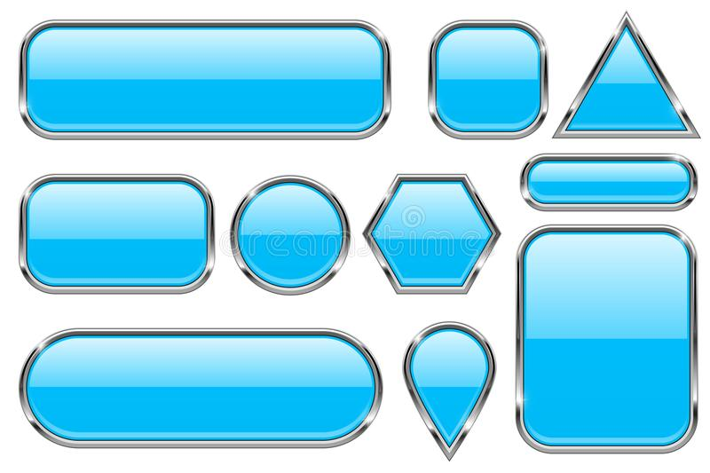 Blue glass buttons with chrome frame. Colored set of shiny 3d web icons. Vector illustration isolated on white background royalty free illustration