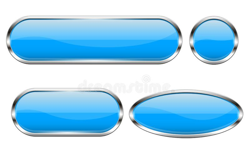 Blue glass buttons. Set of 3d oval shiny icons with chrome frame. Vector illustration isolated on white background vector illustration