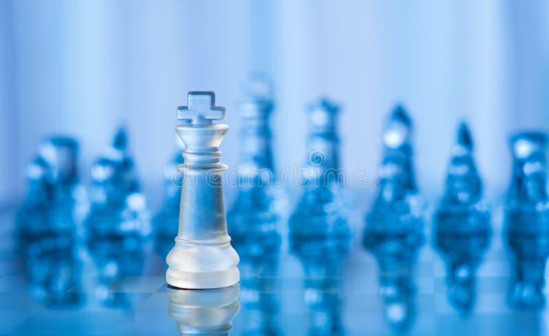 Blue glass chess stock photo