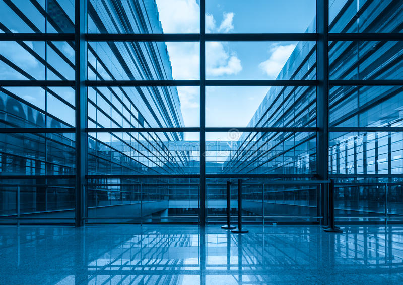 Kimmel Center Glass Curtain Wall Detail : Blue glass curtain wall and window stock photo image of