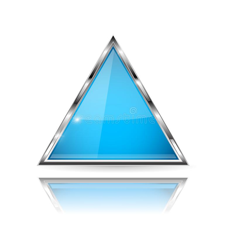 Blue glass 3d button with metal frame. Triangle shape. With reflection on white background vector illustration