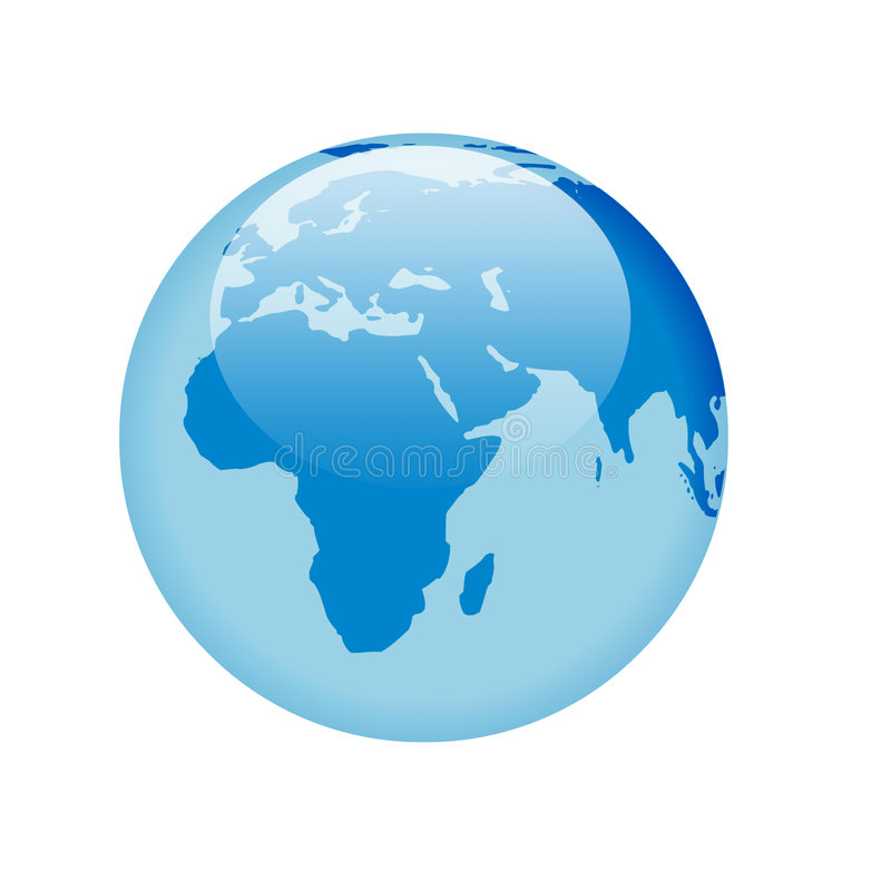 Blue glass globe. Globe with glass effect in blue - africa & european continents stock illustration