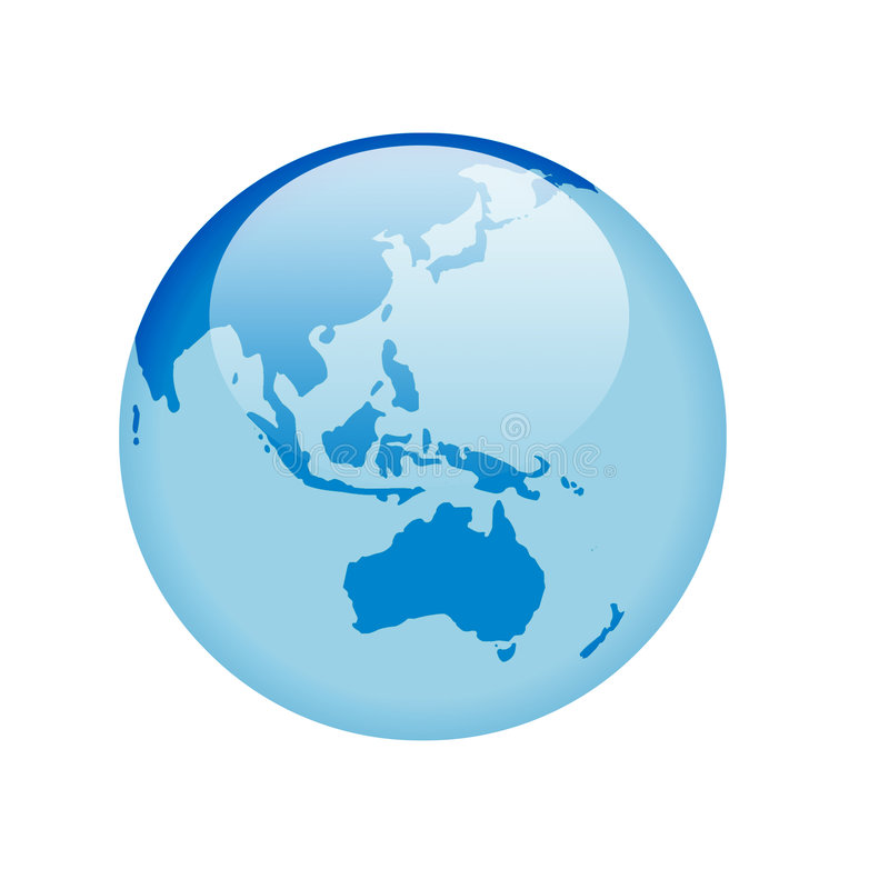 Blue glass globe. Globe with glass effect in blue - australia & asia vector illustration
