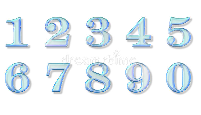 Blue glass numbers royalty free stock photos